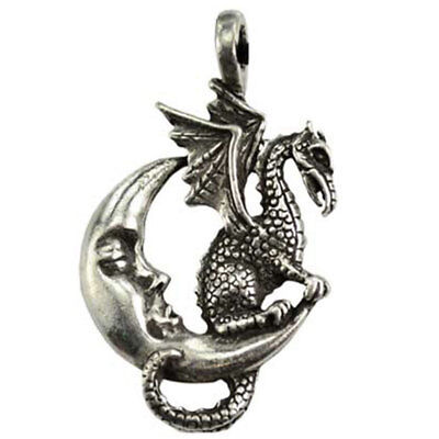 """Midnight Dragon Amulet 1.5"""" NEW Pewter Pendant Fantasy Silver Moon - US Made"""