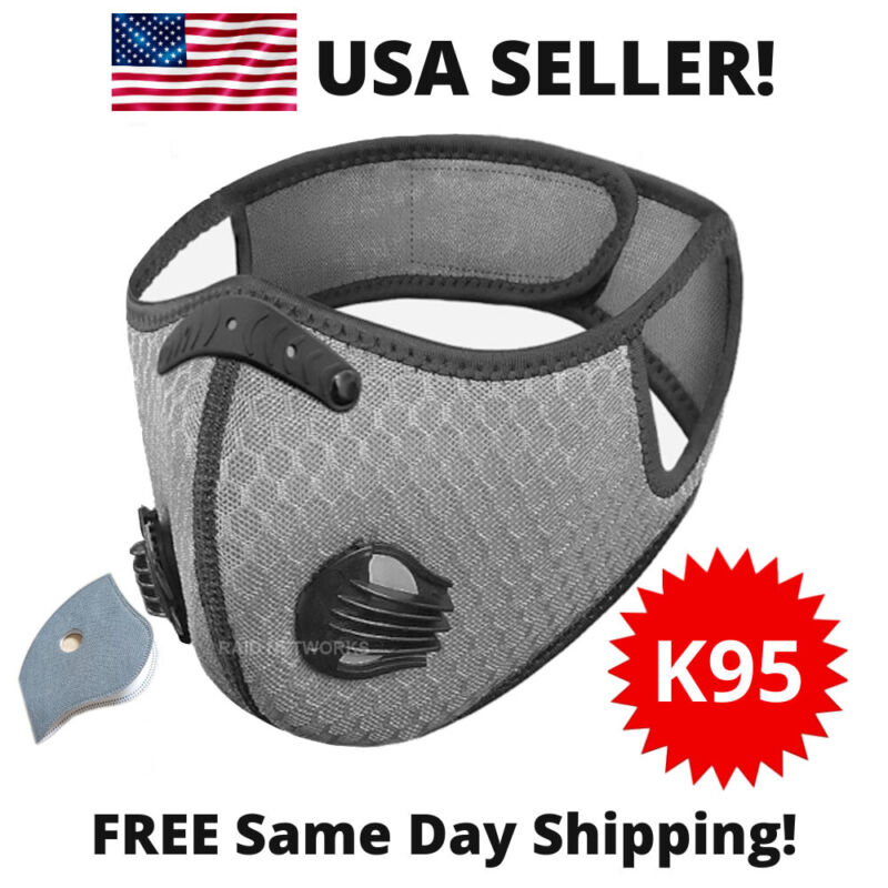 Sport Cycling Face Mask W/ Active Carbon Filter Breathing Valves Grey