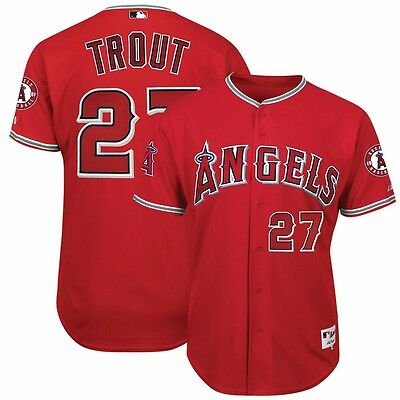 Mike Trout Authentic Los Angeles Anaheim Angels On Field Alternate Red Jersey