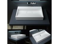 Durovin Bathrooms Ensuite Cloakroom Wall or Shelf Mountable Stone Basin Sink 700mm
