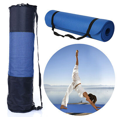 Portable Non-slip Yoga Mat Fitness Exercise Pad 10MM Thick Gym Pilates Supplies