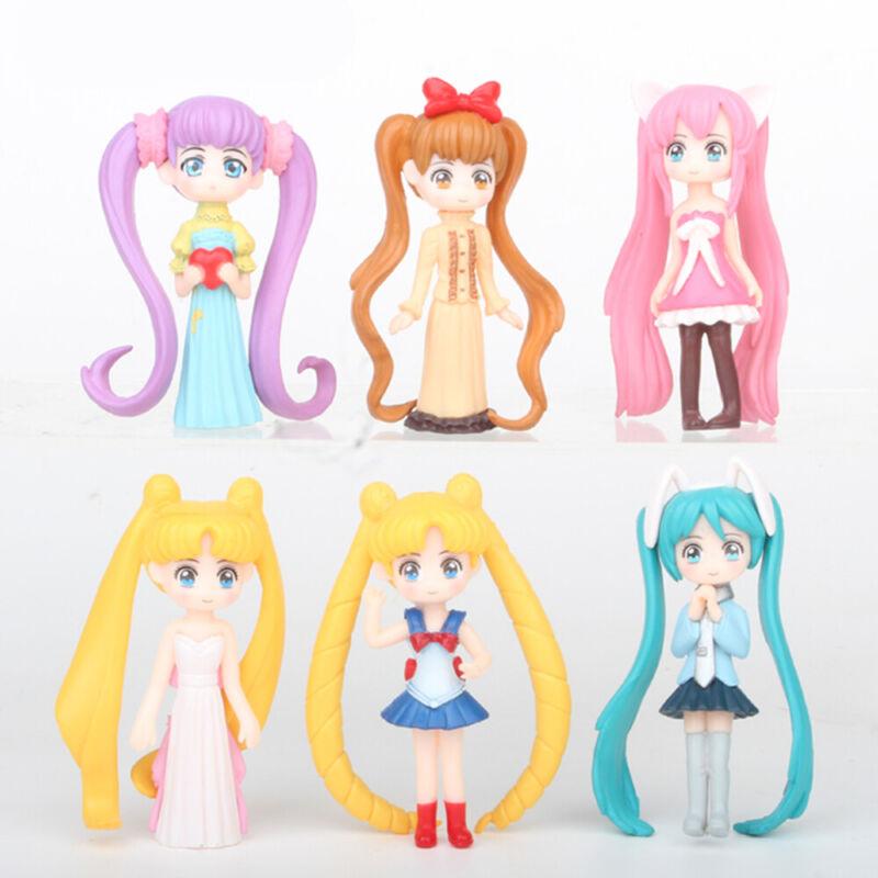 Sailor Moon Tsukino Usagi 6 PCS Anime Action Figure Cake Topper Kids Gift Toy US