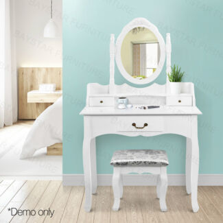 3 Drawers Mirror Jewellery Cabinet Dressing Table with Stool