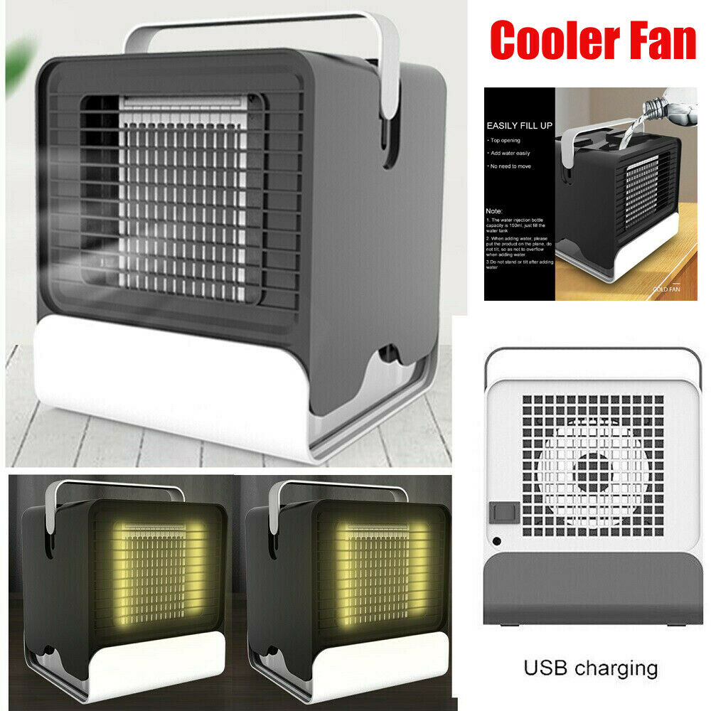LED Cooling Air Fan Mini Air Conditioner Water Cooler Humidi
