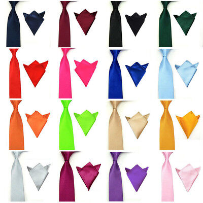 (Men's Stylish Satin Necktie Pocket Square Set Tie Hanky Handkerchief Lot NEW)