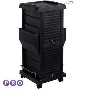 Saloniture Premium Locking Rolling Trolley Cart With Pockets Black - BRAND NEW - FREE SHIPPING