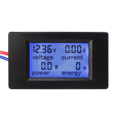 Dc 6.5-100v 20a 4 In 1 Lcd Digital Combo Panel Meter Volt Amp Power Watt Hour Ug