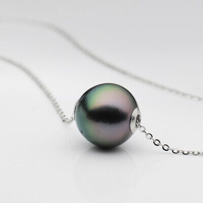 Peacock Green Tahitian Cultured Pearl Pendant Necklace 14K W Gold au585 -
