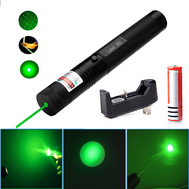 532nm 303 Green Laser Pointer Pen Visible Beam Light Lazer 18650+Charger Great