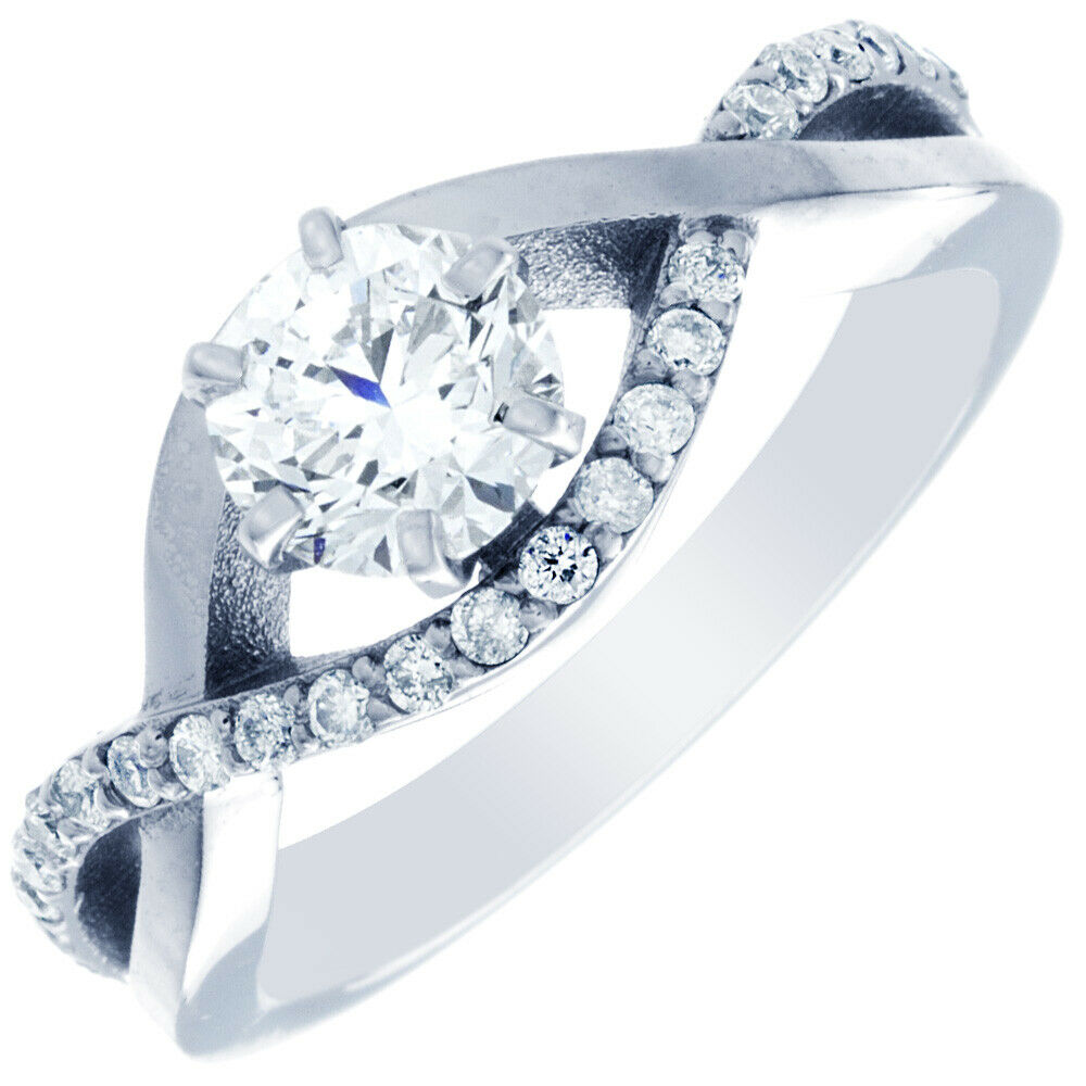 GIA Certified Round Cut Diamond Engagement Ring 18k White Gold 1.42 carat total