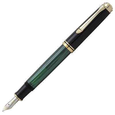New Pelikan SOUVERAN M600 Black Green Fountain Pen 14K Gold Nib EF,F,M,B Rhodium