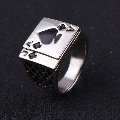 Men Card Game Casino Black Enamel White Jewelry Ring Poker Ace Of Spades