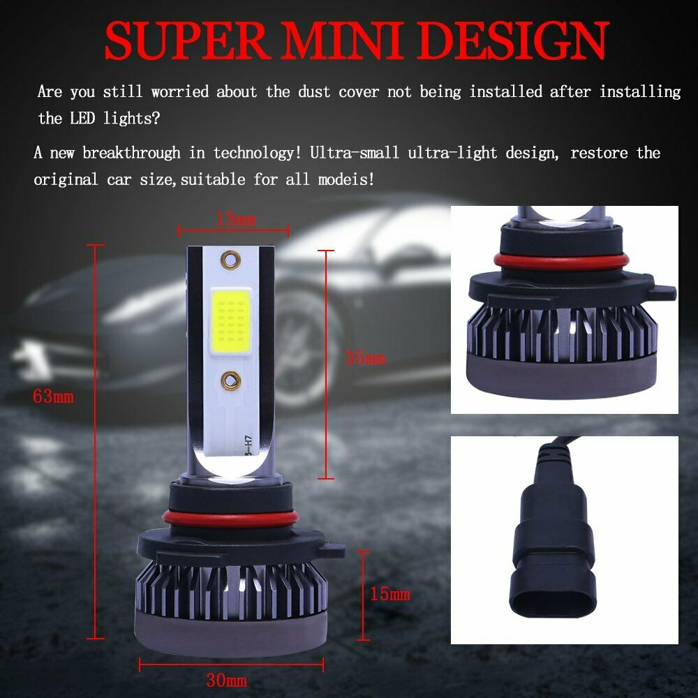 9005+9006 6000K 3600W 520000LM Combo COB LED Headlight Kit High Low Lamp Bulbs