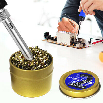 Soldering Iron Head Rapid Cleaner Cleaning Steel Wire Ball With Metal Case Set