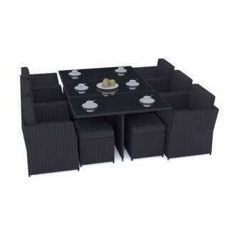 BRAND NEW : Luxo Saba Black 11 Piece Outdoor Dining Set - Black C Seven Hills Blacktown Area Preview
