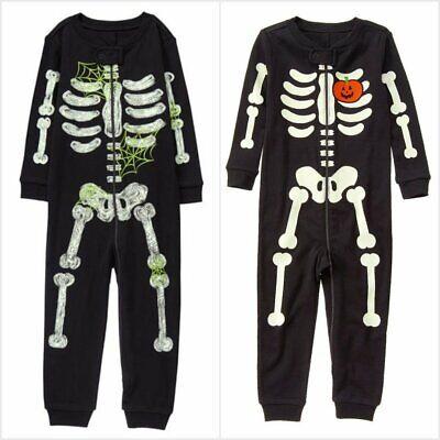 NWT Gymboree Skeleton Black Glow-in-the-Dark Boy Girl Gymmies Pajamas Romper