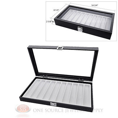 Glass Top Jewelry Organizer Display Case 10 Slot Compartment White Insert Travel