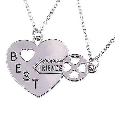 Beste Freunde Eingraviert Herz Sperren Schlüssel 2X Halskette Für Immer 925 ()
