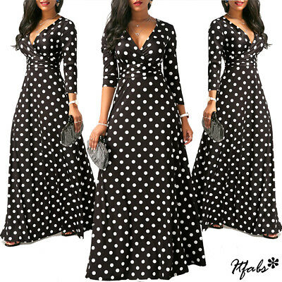 Plus Size Lady Long Sleeve Floral Boho Women Party Bodycon Maxi Dress - Party Clothing