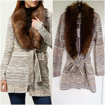 Belted Print Jersey (RIVER ISLAND CREAM TAN AZTEC PRINT JERSEY  BELTED FURRY COLLAR JACKET SIZE UK 14)