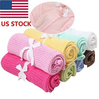 Cotton Knitted Baby Blanket - US  Cotton Baby Infant Cellular Soft Bow Blanket Pram Bed Basket Crib Blanket