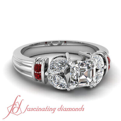 Ruby Gemstone And Marquise Diamond Rings With Asscher Cut Center 1.65 Carat GIA