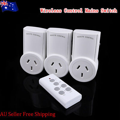 AU Plug 3 Mains Outlet Power Point Socket + 1 Smart Wireless Remote Controller