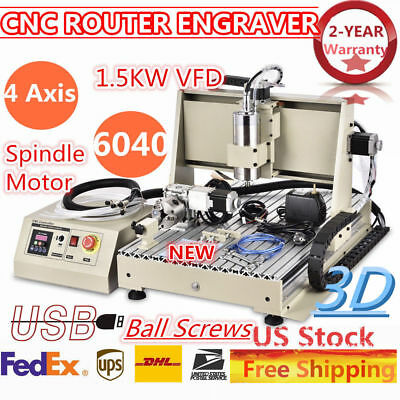 4axis Cnc 6040t Router Engraving Drilling Milliing Machine Ball-screw Pvc Wood