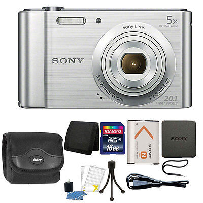 Sony Cyber-shot DSC-W800 20.1MP Digital Camera 5x Zoom Silver + 16GB Accessories