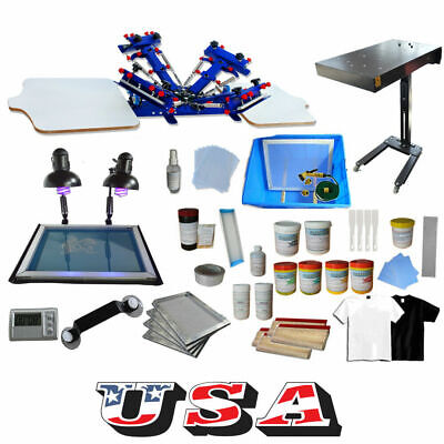 Techtongda 4 Color Screen Printing Press Kit 2 Station Silk Screening Equipment