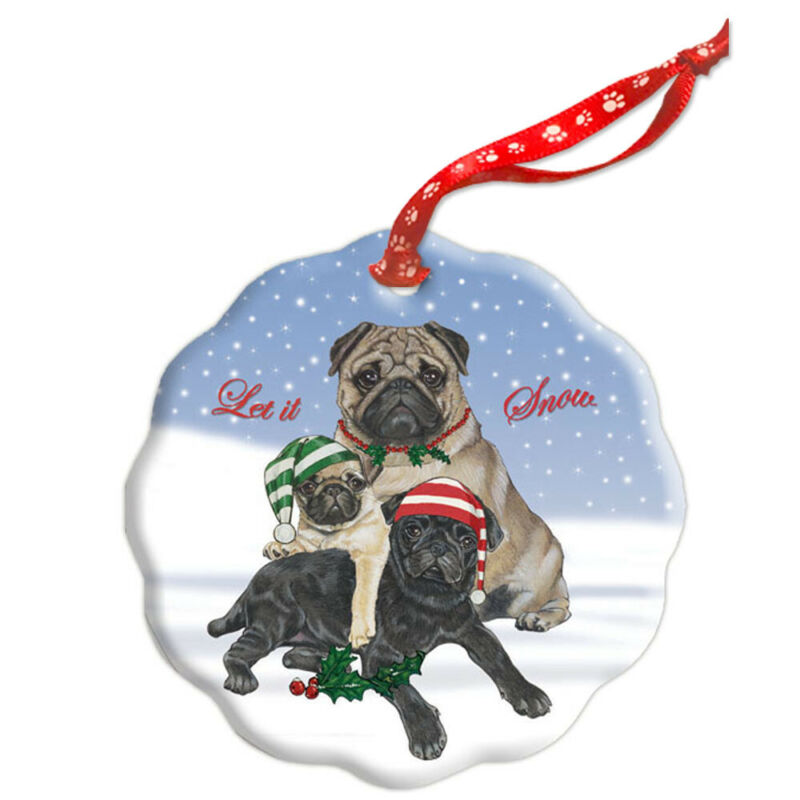 Pug Holiday Porcelain Christmas Tree Ornament