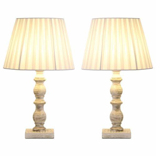 Set of 2 Elegant Bedside Table Lamps Modern Desk Wooden Base