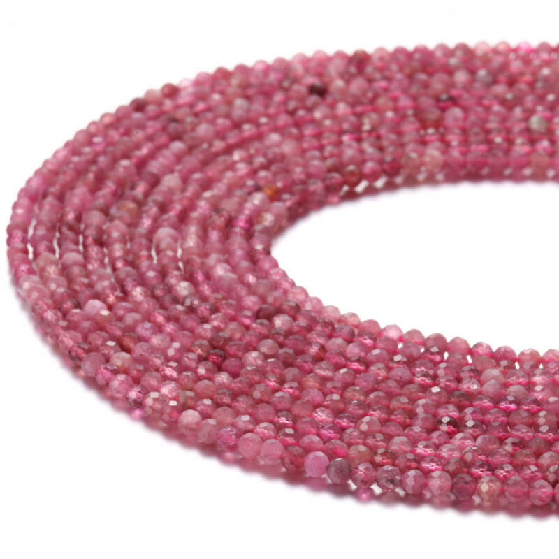 """Natural Pink Tourmaline Faceted Round Beads 2mm 3mm 4mm 5mm 15.5"""" Strand"""