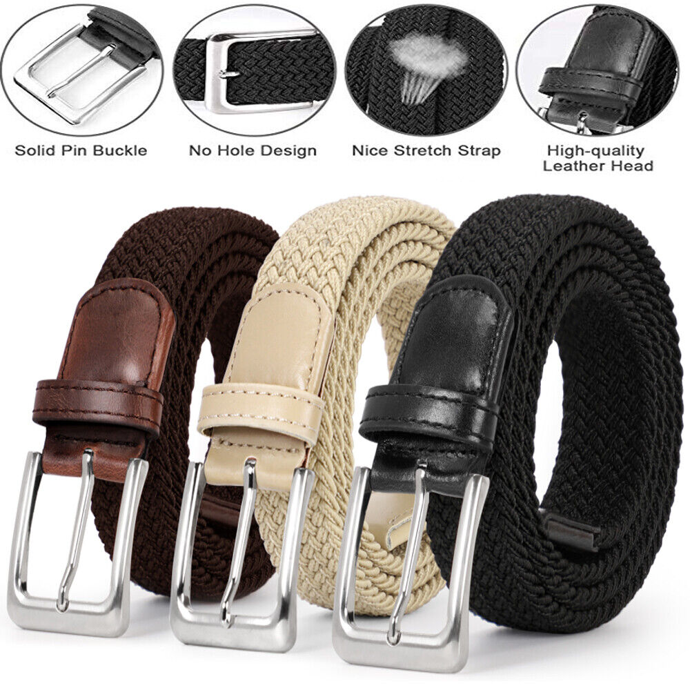 Men/'s Leather Covered Buckle Woven Elastic Stretch Belt Waistband Belts Unisex