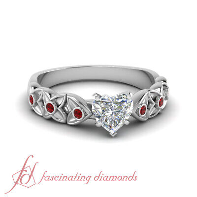 Heart Shape Diamond And Round Ruby Antique Inspired Engagement Rings GIA 0.85 Ct