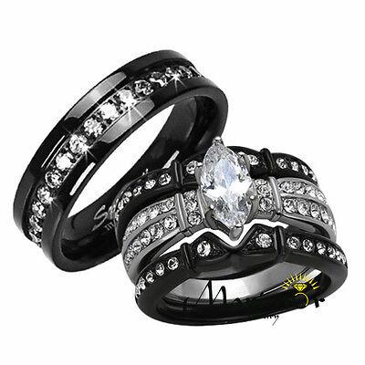 Hers His 4 Pc Black Stainless Steel & Titanium Wedding En...
