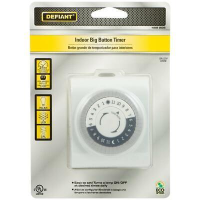 Defiant 15 Amp 24-Hour Indoor Plug-In Mechanical Big Button Timer, (Timer Button)