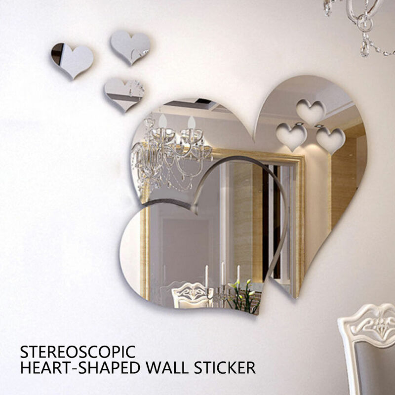 Home Decoration - 3D Mirror Tiles Mosaic Wall Stickers Self Adhesive Bedroom Art Decal Home Decor