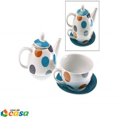 Set te Teiera in ceramica con tazza tisaniera per the tisane a servire con coper