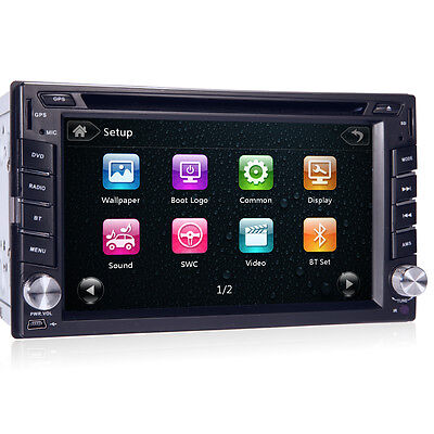 Touch Screen 2DIN In Dash GPS Nav Car DVD Player Bluetooth Auto Stereo Radio+CAM