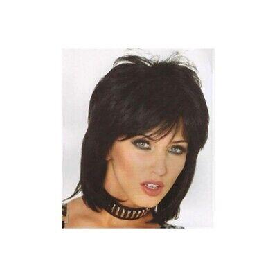 Joan Jett Wig 80s Rocker Adult Women's Costume Short Black Hair Rock Star Singer