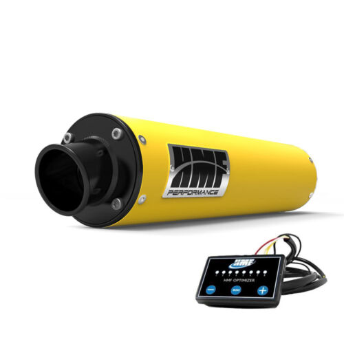 HMF Performance Slip On Exhaust Yellow Black End Cap EFI Optimizer Outlander 500