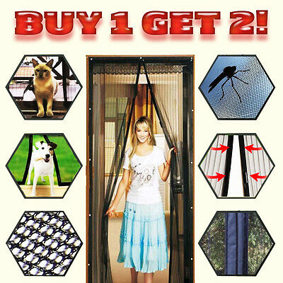 2X Mosquito Door Net Mesh Screen Bug Pet Patio Hands Free Magnetic Magic Closer