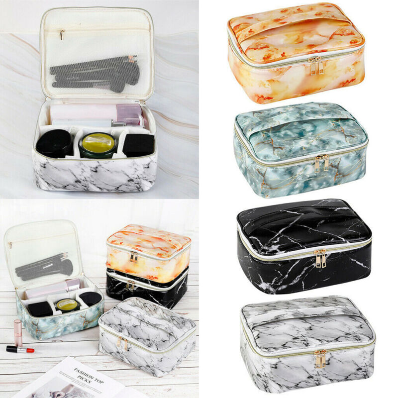 Travel Cosmetic Bags PU Marble Makeup Storage Women Toiletry