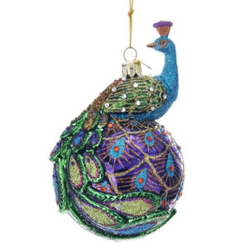 Noble Gems Peacock on Ball Glass Christmas Tree Ornament 5 Inch NB1345 New