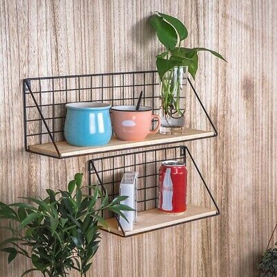 Vintage Industrial Wall Mounted Shelf Unit Metal Wire Floating Wood Rack Shelves