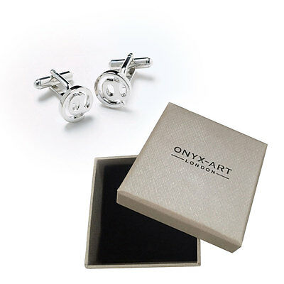 Mens Email   Sign Silver Cufflinks   Gift Box By Onyx Art