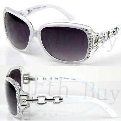 New Womens Rhinestones Square Sunglasses Shades Designer Fashion White Celebrity New Ladies Celebrity Fashion