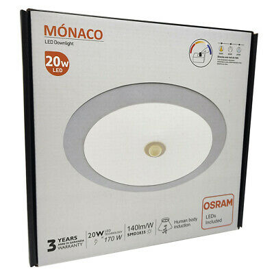 PLAFON EMPOTRABLE LED REDONDO 20W OSRAM - DOWNLIGHT TECHO SENSOR DE MOVIMIENTO