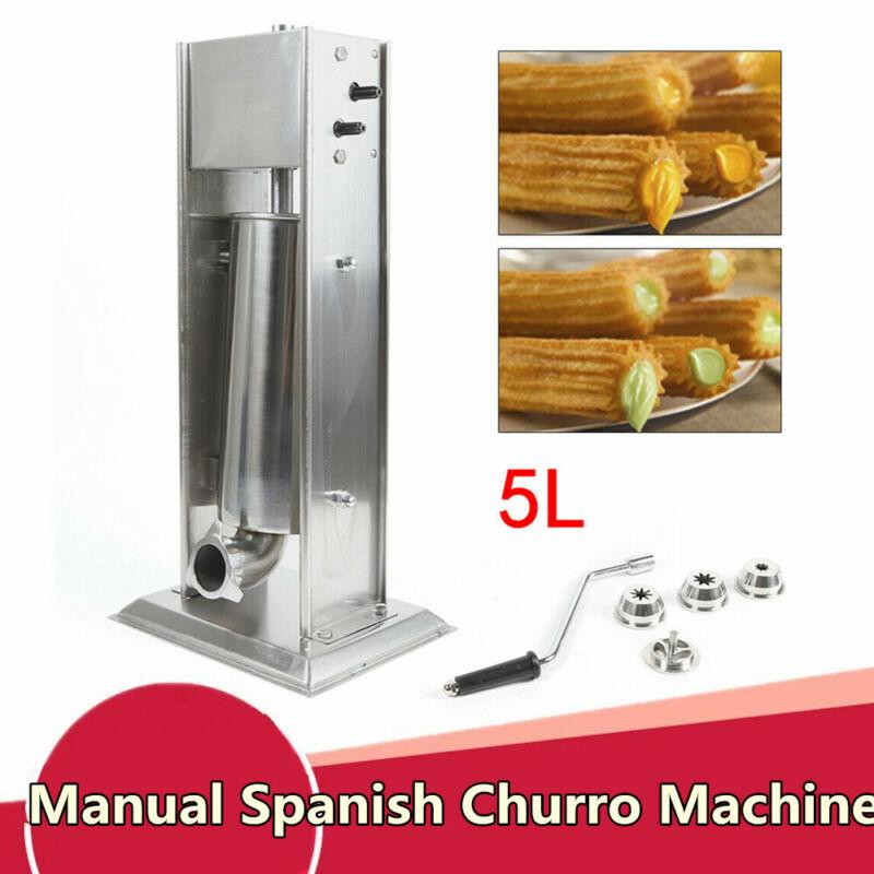 5L Manual Spanish Donut Churros Churrera Machine Stainless Steel w/ 4 Nozzles